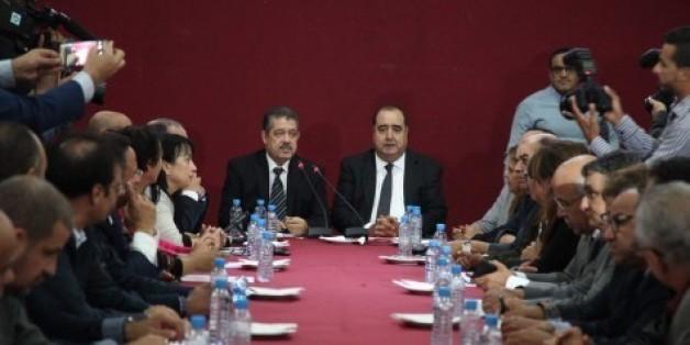 Driss Lachgar et Hamid Chabat, lundi 17 octobre au siège de l'Istiqlal