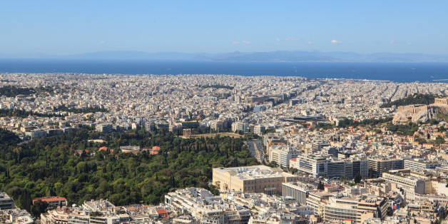 Aerial view of the city,  Athens, Greece