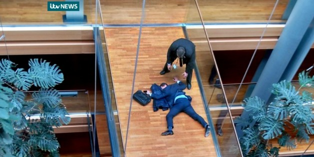 "ADDS THAT NO CROPPING IS PERMITTED AND THAT PHOTO MUST BE USED IN IT'S ENTIRETY. ITV NEWS LOGO MUST BE RETAINED. ALSO REITERATES MANDATORY CREDIT - British UK Independence Party Member of the European Parliament Steven Woolfe lies on the ground  after losing consciousness in the European Parliament building in Strasbourg France Thursday Oct. 6, 2015.  Britain's fractious, right-wing U.K. Independence Party erupted into violence Thursday that left Steven Woolfe  hospitalized with a head injury after an ""altercation"" at a party meeting. Woolfe — the front-runner to be UKIP's next leader — suffered seizures and lost consciousness after the clash Thursday morning during a meeting of party lawmakers at the legislative building in Strasbourg, France.  (ITV News/ via AP)"