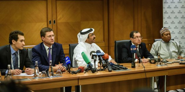 Russian Energy Minister Alexander Novak (2L), Mohammed bin Saleh al-Sada (C), President of the Organization of Petroleum Exporting Countries (OPEC) and Qatar's Energy Minister, Algeria's Minister of Energy, Noureddine Boutarfa (2R) and OPEC Secretary General Nigeria's Mohammed Barkindo (R) attend a press conference during the 23rd World Energy Congress on October 12, 2016 in Istanbul. OPEC has issued an invitation to Russia and other key non-members of the oil cartel to attend a meeting later th