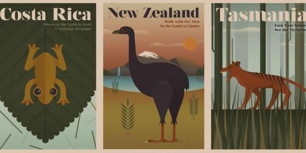 Ein englisches Reiseunternehmen wirbt mit diesen Retro-Plakaten