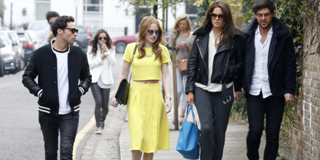 LONDON, UNITED KINGDOM - APRIL 02: Andy Jordan, Rosie Fortescue, Alexandra Felstead and Alex Mytton seen filming for Made In Chelsea at The Phene on April 2, 2014 in London, England. (Photo by Tom Phelan/GC Images)