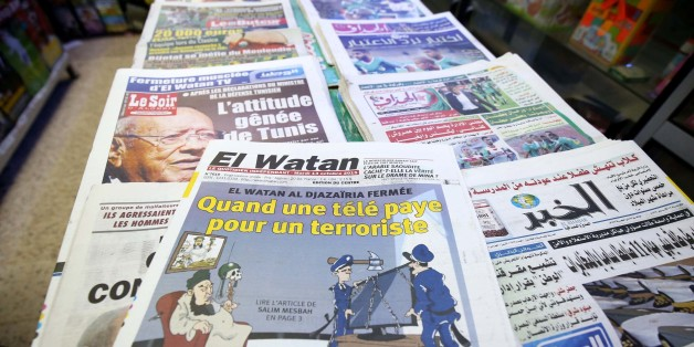 El Watan newspaper title on the closure of the El Watan TV more chain broadcasting on that channel in an interview Madani Mezrag, former head of the Islamic Army of salvation (AIS), the armed wing of the Islamic Front of salvation (FIS) and the order of the Ministry of Communications, in Algiers, Algeria, on October 13, 2015. (Photo by Billal Bensalem/NurPhoto) (Photo by NurPhoto/NurPhoto via Getty Images)