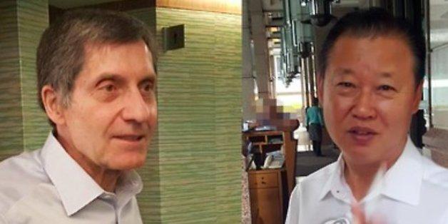 장일훈 북한 유엔주재 차석대사(오른쪽)와 조지프 디트라니 전 미국 6자회담 차석대표(왼쪽)