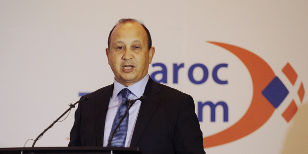 Maroc Telecom Chairman Abdeslam Ahizoune gestures during the company's full-year results news conference in Rabat February 23, 2015. Maroc Telecom, Morocco's largest telecom operator, said a strong performance at its African subsidiaries helped drive its 2014 net profit up 5.6 percent to 5.85 billion dirhams ($613.51 million). REUTERS/Stringer (MOROCCO - Tags: BUSINESS TELECOMS PROFILE)