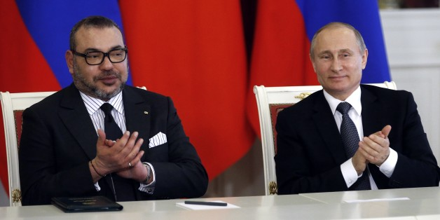 Russian President Vladimir Putin, right, and Morocco's King Mohammed VI attend   a signing ceremony after their talks in the Kremlin in Moscow, Russia, Tuesday, March 15, 2016. Morocco's King Mohammed VI is on an official visit to Russia. (Maxim Shipenkov/Pool photo via AP)
