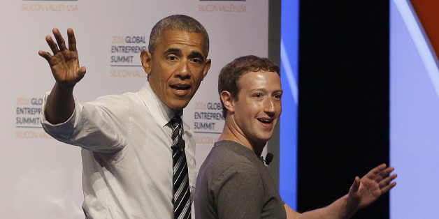 President Barack Obama and Facebook founder Mark Zuckerberg wave after speaking at the Global Entrepreneurship Summit in Stanford, Calif., Friday, June 24, 2016. (AP Photo/Jeff Chiu)