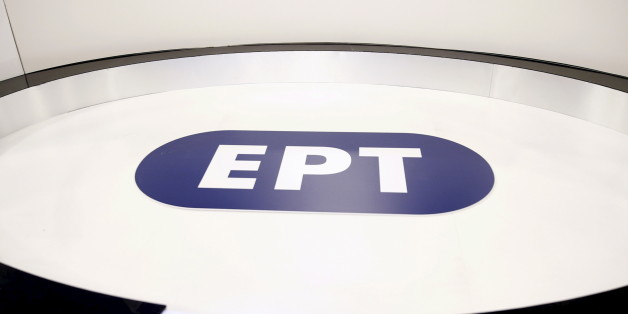 """The logo of the reopened state broadcaster ERT is seen inside a studio in Athens June 11, 2015. Employees at Greece's state television ERT hugged each other and cried on Thursday as the channel aired its first broadcast in two years, after it was shut down under one of the previous government's most drastic austerity measures. Leftist Prime Minister Alexis Tsipras, who is racing to reach a cash-for-reforms deal with the European Union and IMF, had called ERT's closure """"a great wound"""" of his country's bailout. He made its reopening one of his priorities as part of efforts to roll back cuts demanded by the lenders.   REUTERS/Alkis Konstantinidis"""