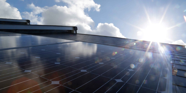 solar panels , abstract sunshine and blue sky