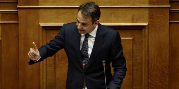 ATHENS, ATTICA, GREECE - 2016/05/22: New Democracy leader Kyriakos Mitsotakis delivers a speech, during the debate at Parliament on the prior actions demanded by the countrys lenders. (Photo by Panayotis Tzamaros/Pacific Press/LightRocket via Getty Images)
