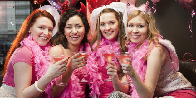 Portrait of women at hen night party.