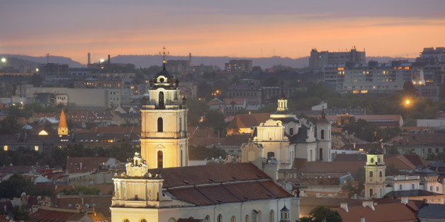 elevated view of Vilnius with St John's Church