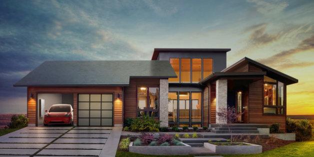 """""""Die integrierte Zukunft"""": E-Auto, Energiespeicher und Solarziegel in einem Haus - alles von Tesla"""