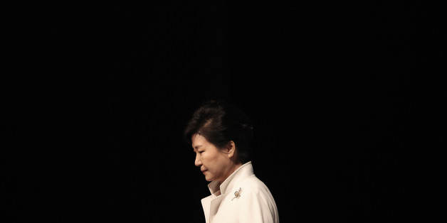 South Korean President Park Geun-hye leaves after a ceremony to celebrate the March First Independence Movement Day, the anniversary of the 1919 uprising against Japanese colonial rule, in Seoul, South Korea, Tuesday, March 1, 2016. (AP Photo/Ahn Young-joon)