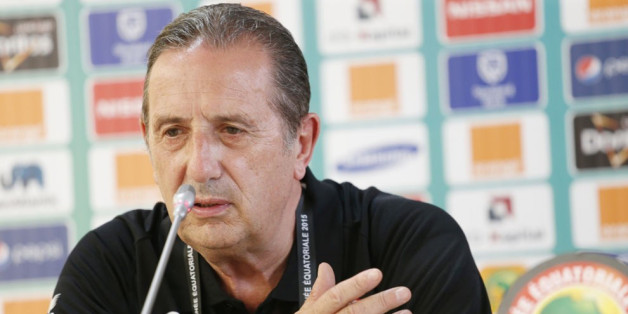BATA, EQUATORIAL GUINEA - JANUARY 21: Tunisian head coach Georges Leekens holds a press conference at Bata stadium ahead of the 2015 African Cup of Nations football match between Tunisia and Zambia in Bata, Equatorial Guinea on January 21, 2015.  (Photo by Haykal Himema/Anadolu Agency/Getty Images)