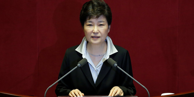 South Korean President Park Geun-hye delivers her speech on the 2017 budget bill during a plenary session at the National Assembly in Seoul, South Korea, October 24, 2016.  REUTERS/Kim Hong-Ji