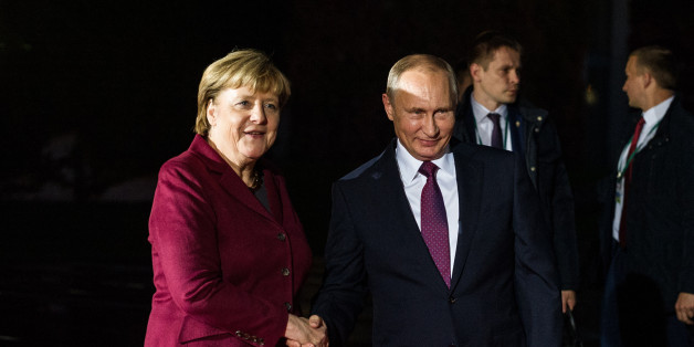 Chancellor Angela Merkel (CDU) welcomes the  Russian President  Vladimir Putin at the Federal Chancellery, in Berlin, Germany, on October 19, 2016. Chancellor Merkel, French President Hollande, Ukrainian President Poroshenko and Russian President Putin have agreed to hold a meeting of heads of state and government in Normandy-Format. The semi-official trilateral contact group at the government and foreign minister level deals with the conflict in Ukraine and the implementation of the Minsk agreements. (Photo by Markus Heine/NurPhoto via Getty Images)
