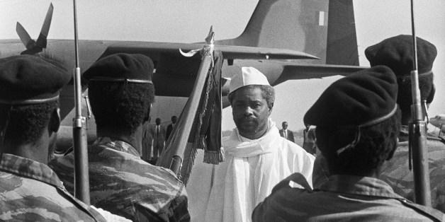 Chad's President Hissein Habré reviews the honour guard, upon his departure at N'Djamena airport, 04 December 1984. Le président tchadien Hissène Habré passe en revue la garde présidentielle, lors de son départ à l'aéroport de N'Djamena, le 04 décembre 1984. (FILM)  AFP PHOTO/JOEL ROBINE        (Photo credit should read JOEL ROBINE/AFP/Getty Images)