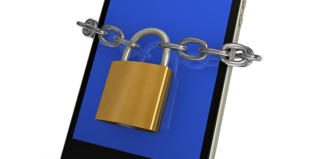 Locked smartphone with chain and padlock, on white background.