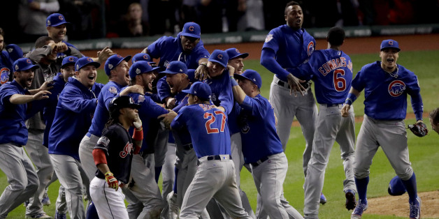 Chicago Cubs celebrate after Game 7 of the Major League Baseball World Series Thursday, Nov. 3, 2016, in Cleveland. The Cubs won 8-7 in 10 innings to win the series 4-3. (AP Photo/Charlie Riedel)