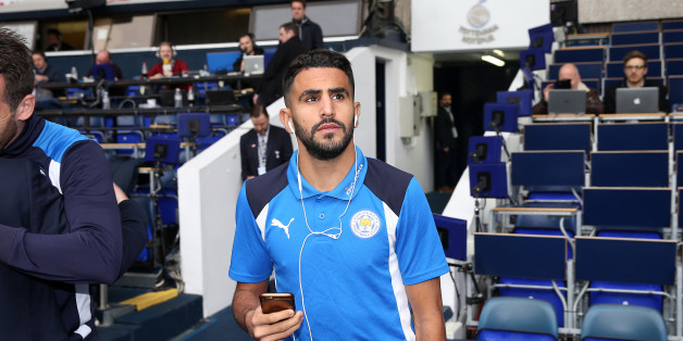 LONDON, ENGLAND - OCTOBER 29: Riyad Mahrez of Leicester City arrives at White Hart Lane ahead of the Premier League match between Tottenham Hotspur and Leicester City at White Hart Lane on October 29, 2016 in London, England. (Photo by Plumb Images/Leicester City FC via Getty Images)