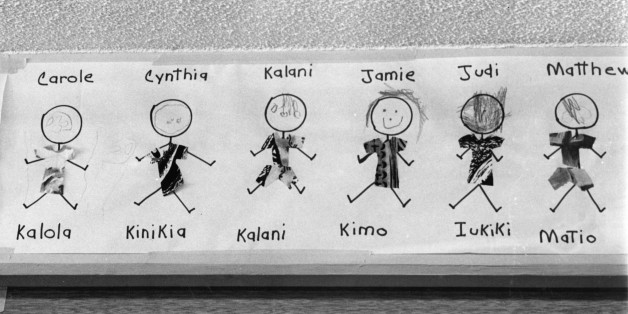 Sketches of pupils with their English and Hawaiian names.