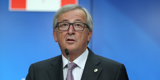 BRUSSELS, BELGIUM - OCTOBER 30: President of the European Commission, Jean-Claude Juncker, EU Council President Donald Tusk (not seen) and  Canadian Prime Minister Justin Trudeau (not seen) hold a joint press conference during  the EU-Canada summit, in Brussels, Belgium, 30 October 2016.  EU-Canada summit to signs the agreement on the Comprehensive Economic and Trade Agreement (CETA), a trade deal between the EU and Canada, in Brussels, Belgium, on October 30, 2016.  (Photo by Dursun Aydemir/Anadolu Agency/Getty Images)