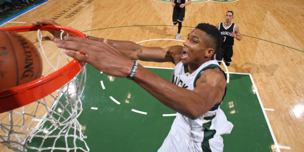 MILWAUKEE, WI - OCTOBER 29:  Giannis Antetokounmpo #34 of the Milwaukee Bucks dunks the ball against the Brooklyn Nets on October 29, 2016 at BMO Harris Bradley Center in Milwaukee, Wisconsin. NOTE TO USER: User expressly acknowledges and agrees that, by downloading and or using this photograph, user is consenting to the terms and conditions of the Getty Images License Agreement. Mandatory Copyright Notice: Copyright 2016 NBAE (Photo by Gary Dineen/NBAE via Getty Images)