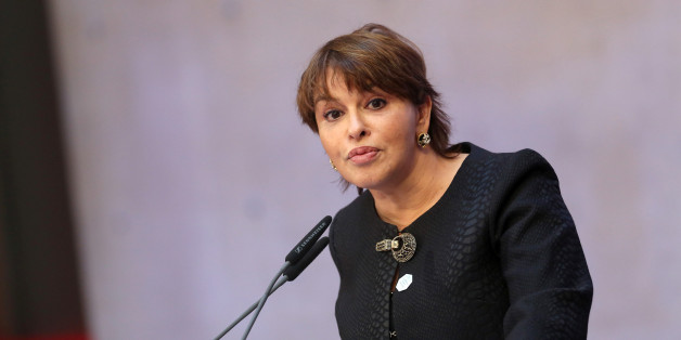 Moroccan Environment Minister Hakima El Haite speaks at the Seventh Petersberg Climate Dialogue in Berlin on July 4, 2016. / AFP / Adam BERRY        (Photo credit should read ADAM BERRY/AFP/Getty Images)