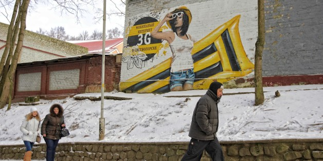 Svetlogorsk is a coastal resort town and the administrative center of Svetlogorsky District of Kaliningrad Oblast, Russia, located on the coast of the Baltic Sea on the Sambia Peninsula. People walking along Beeline mobile phone operator are seen (Photo by Michal Fludra/Corbis via Getty Images)