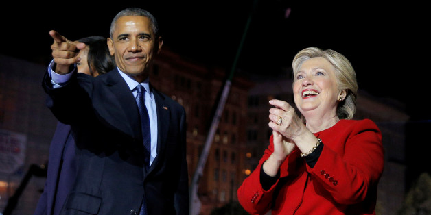 U.S. Democratic presidential nominee Hillary Clinton is joined by U.S. President Barack Obama at a campaign rally on Independence Mall in Philadelphia, Pennsylvania, U.S. November 7, 2016, the final day of campaigning before the election.  REUTERS/Brian Snyder