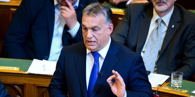 Hungarian Prime Minister Viktor Orban gives a speech at the parliament in Budapest on October 3, 2016.