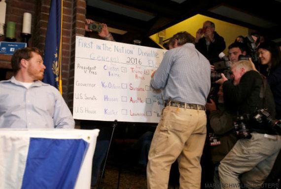 les votes sont inscrits sur un tableau à dixville