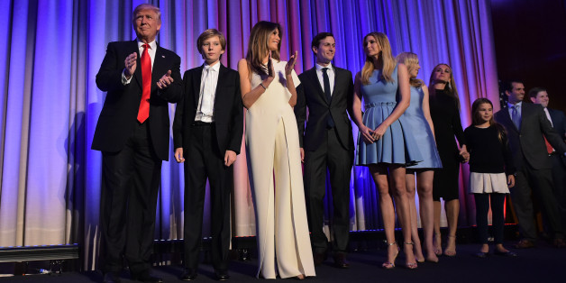 Republican presidential elect Donald Trump arrives with his family on stage to speak during election night at the New York Hilton Midtown in New York on November 9, 2016. 
