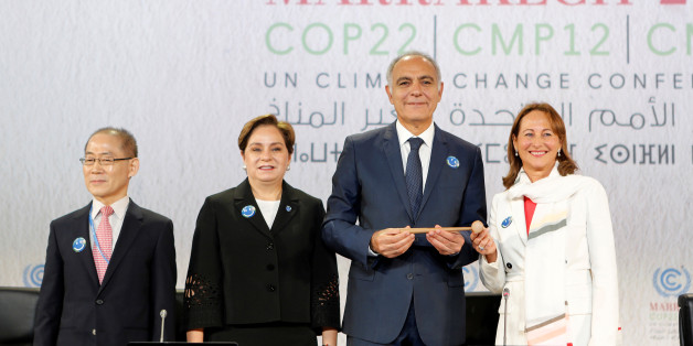 (L-R) IPCC Chair Dr. Hoesung Lee, Executive Secretary of the UN Framework Convention on Climate Change Patricia Espinosa, Moroccan Foreign Minister and COP22 President Salaheddine Mezouar and French Minister for Environment Segolene Royal launch the opening of the UN Climate Change Conference 2016 (COP22) in Marrakech, Morocco, November 7, 2016. REUTERS/Youssef Boudlal