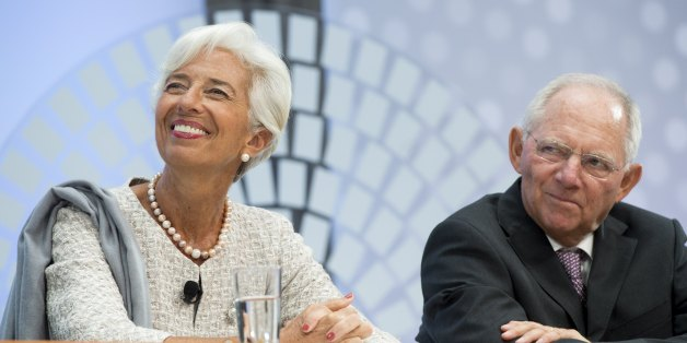 German Finance Minister Wolfgang Schauble and IMF Managing Director Christine Lagarde participate during a CNN Debate on the Global Economy at the 2016 Annual Meetings of the International Monetary Fund and the World Bank Group at the IMF Headquarters in Washington, DC, October 6, 2016. / AFP / SAUL LOEB        (Photo credit should read SAUL LOEB/AFP/Getty Images)
