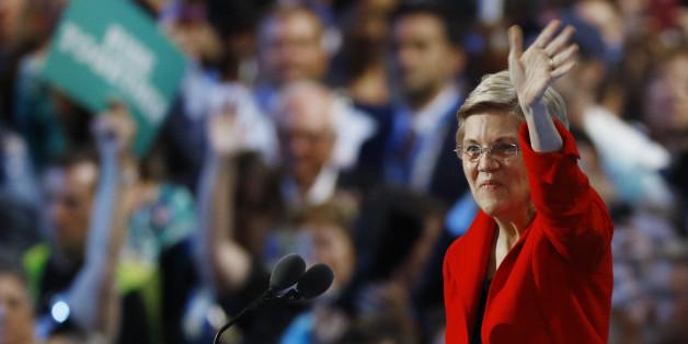 U.S. Senator Elizabeth Warren (D-MA) waves from the podium at the Democratic National Convention in Philadelphia, Pennsylvania, U.S. July 25, 2016. REUTERS/Scott Audette