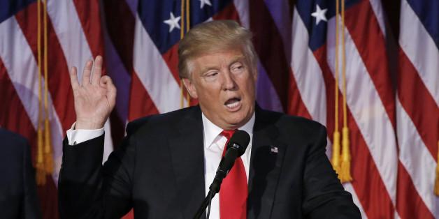 Donald Trump nach der Verkündung des Wahlergebnisses am 9. November