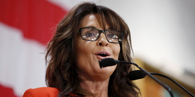 Former Alaska Governor Sarah Palin speaks during Milwaukee County GOP's 'Wisconsin Decides 2016' presidential candidate event at the American Serb Banquet Hall in Milwaukee April 1, 2016. REUTERS/Kamil Krzaczynski