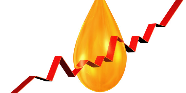 oildrop with stock chart on white background