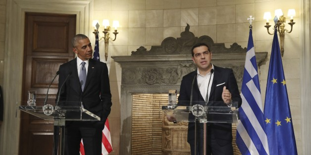 US President Barack Obama (R) shakes hands with Greek Prime Minister Alexis Tsipras before their meeting on November 15, 2016 in Athens. / AFP / Brendan Smialowski        (Photo credit should read BRENDAN SMIALOWSKI/AFP/Getty Images)