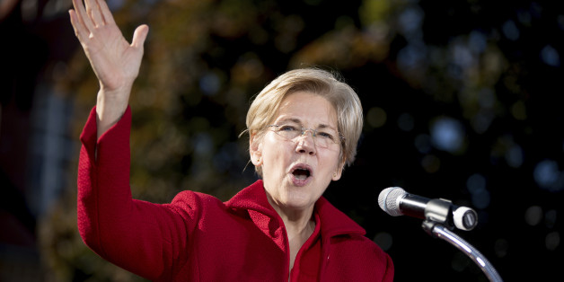 Sen. Elizabeth Warren, D-Mass. speaks at a rally for Democratic presidential candidate Hillary Clinton at St. Anselm College in Manchester, N.H., Monday, Oct. 24, 2016. (AP Photo/Andrew Harnik)