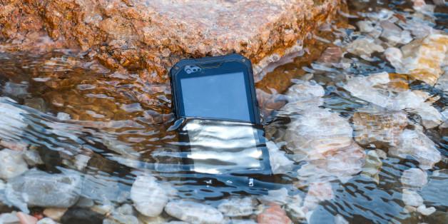 Waterproof, dustproof, shockproof mobile phone with touchscreen display