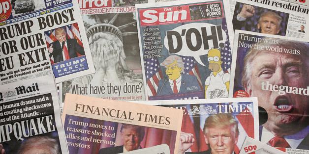 LONDON, ENGLAND - NOVEMBER 10:  British newspapers show U.S. Republican candidate and President Elect Donald Trump on their front pages the day after Trump was announced the winner in U.S. presidential elections on November 9, 2016 in London, England. The American public have voted for the Republican candidate Donald Trump to be the 45th President of the United States. After 46 of the 50 States declared he had 278 of the 538 electoral college votes and Hillary Clinton conceded defeat in a teleph