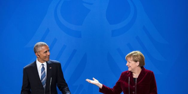 US President Barack Obama and German Chancellor Angela Merkel addresses a press conference after their meeting at the chancellery  in Berlin on November 17, 2016. US President Barack Obama pays a farewell visit to German Chancellor Angela Merkel, seen by some as the new standard bearer of liberal democracy since the election of Donald Trump. / AFP / Brendan Smialowski        (Photo credit should read BRENDAN SMIALOWSKI/AFP/Getty Images)