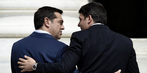 Greek Prime Minister Alexis Tsipras (L) welcomes his Italian counterpart Matteo Renzi during the opening of the EU MED Mediterranean Economies Summit in Athens on September 9, 2016. / AFP / ARIS MESSINIS        (Photo credit should read ARIS MESSINIS/AFP/Getty Images)