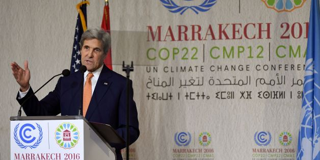 US Secretary of State John Kerry gives his speech at the COP22 climate change conference on November 16, 2016, in Marrakesh.Kerry who has just returned from Antarctica is travelling to Morocco and will also attend the APEC summit in Peru. / AFP / POOL / Mark RALSTON        (Photo credit should read MARK RALSTON/AFP/Getty Images)