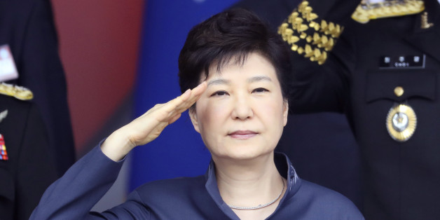 South Korean President Park Geun-hye salutes during the 68th anniversary of Armed Forces Day at the Gyeryong military headquarters in Gyeryong, South Korea, Saturday, Oct. 1, 2016. (AP Photo/Lee Jin-man, Pool)