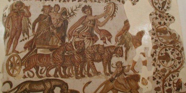 Triumph of Bacchus. Ancient Roman mosaic, Sousse Museum (Tunisia)