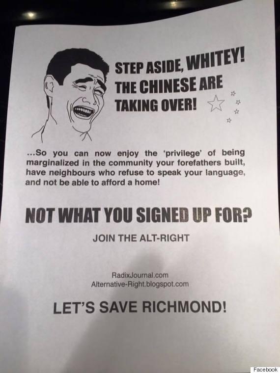 richmond racist flyer steveston
